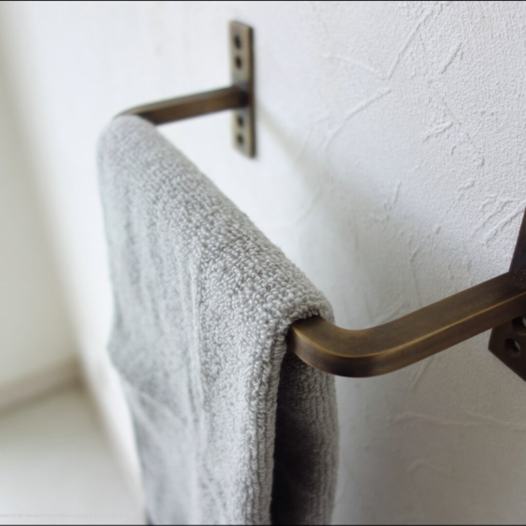 真鍮タオル掛け / 曲がり21cm タオルハンガー ブラスハンガー キッチンタオルバー バス・トイレ用品 洗面用品 壁掛け 真鍮製 レトロ調