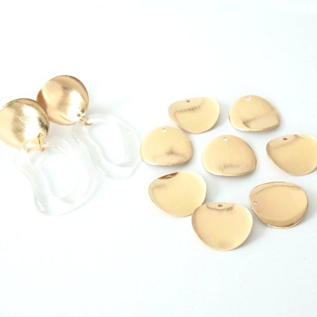 再販 ウェーブラウンドパーツ 【ゴールド 穴開き 10個】ウェーブ サークル 円 丸 イヤリングパーツ 金具