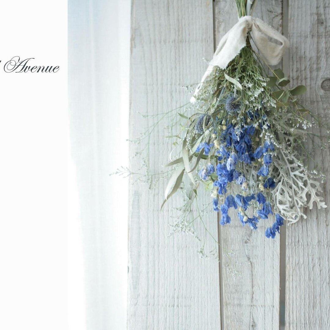 ドライフラワースワッグ  シルバーグリーンの白妙菊とマリンブルーのナチュラルスワッグ