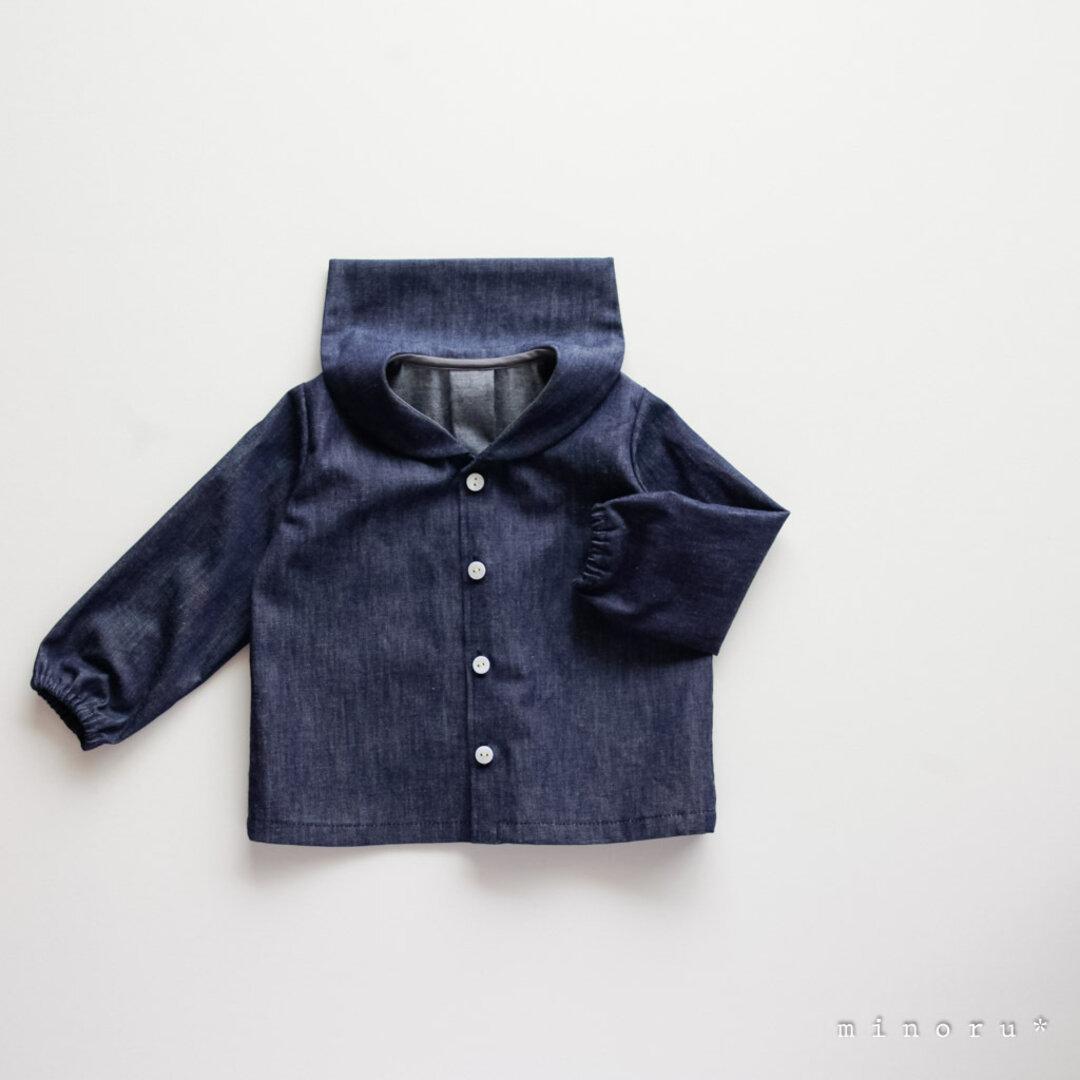 (半袖/長袖)デニム インディゴ セーラーシャツ(80-120)【受注製作】  minoru*