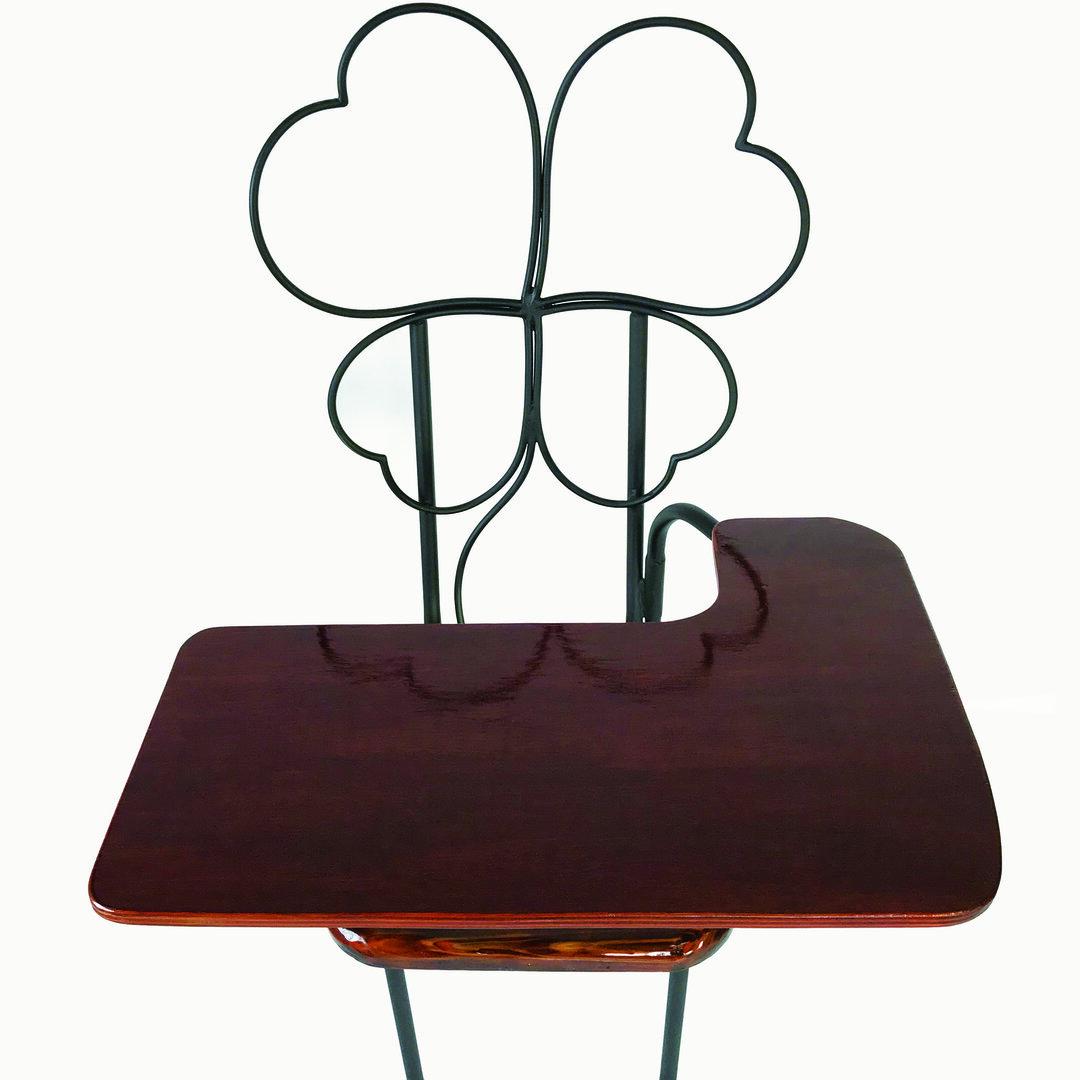 【送料込み】Clover(クローバー)-オリジナル折りたたみテーブル付きチェアー【ハンドメイドアイアン家具】