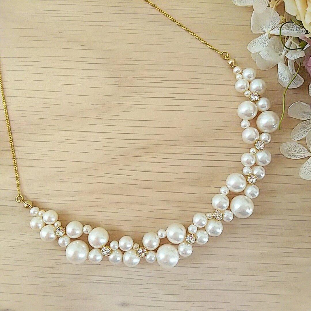 ♥結婚式・入学式に♥ランダムパールとスワロフスキーの編み込みチェーンネックレス