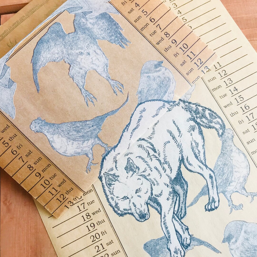 Wolf vintage waxpaper bookcover -January and February '17-