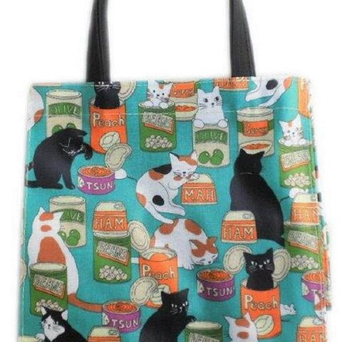 猫柄 トートバッグ 小さめ 缶詰と猫 かわいい スポーツ ランチトート お散歩バッグ アニマル柄 動物柄