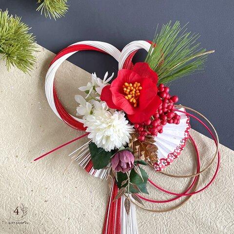 【お正月】紅椿・松 陽光水引飾り(白×赤)ゴールド 扇 正月飾り 松 椿 しめ縄 17