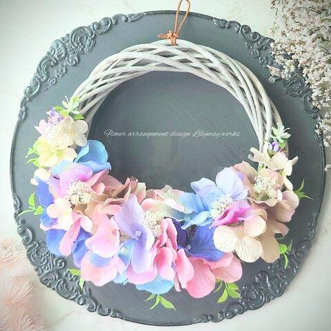 ❅ラッピング無料 紫陽花のリース アーティフィシャルフラワー  母の日 ウエディング 玄関 新築祝い 結婚祝い