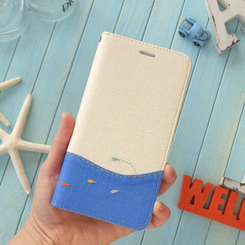 海にゆこうよ! 手帳型スマホケース ベルトなし  -- iPhone12 夏 ブルー 波 船 --
