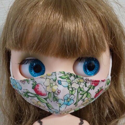 ブライス用 立体マスク YUWA生地 花柄 苺柄 ブルー