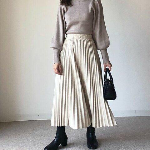 送0冬のテンションUPスカート スムース起毛のプリーツスカート 高見えスカート【スムース起毛プリーツ】