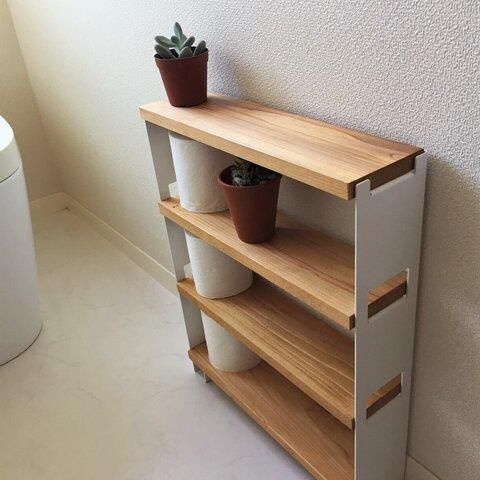 小型シェルフ 3段 ホワイト(トイレ収納・小物ディスプレイ)