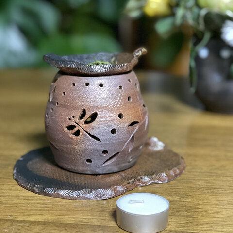 どこかの懐かしい風景🌾トンボ柄のお茶の香🍵漂う焼き締め茶香炉4点セット
