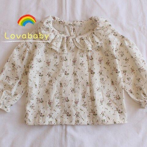 【73㎝‐120㎝】フリルカラーシャツ  長袖ブラウス 1-2-3歳女の子コットン100% 赤ちゃん 可愛い