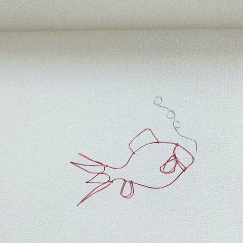 【動画あり】1匹の赤い金魚のモビール ワイヤー/針金 アート 夏のお家で涼しげゆったり