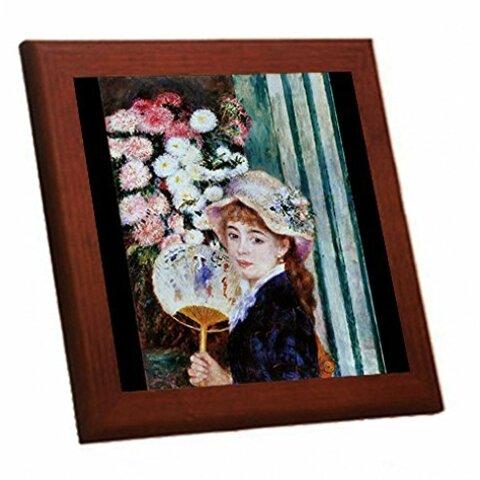 ルノワール『 団扇を持つ少女 』の木枠付きフォトタイル(世界の名画シリーズ)
