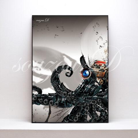 A3グラフィックアートポスター「octopus02」