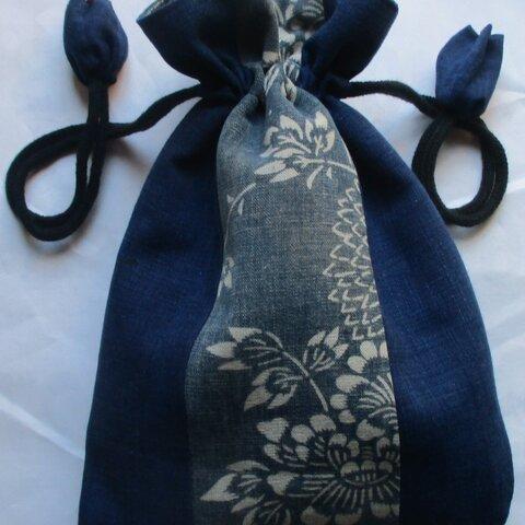 5908 型染めと藍の着物で作った巾着袋 #送料無料