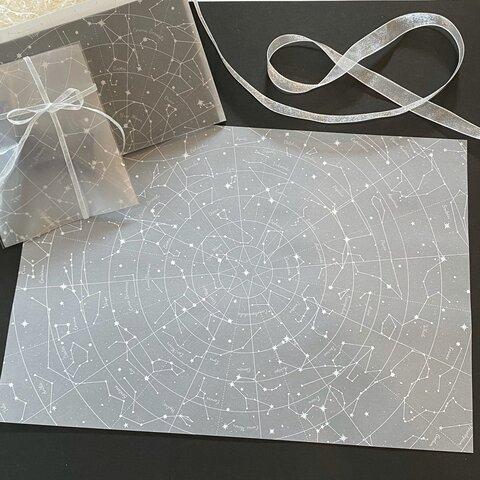 星図 トレーシングペーパー デザインペーパー 星座 星空 A4サイズ 10枚入り ホワイト マルチペーパー ギフト