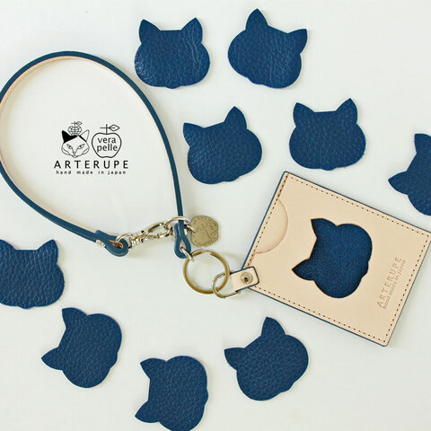 Gattina Pass・猫のパスケース  インディゴ