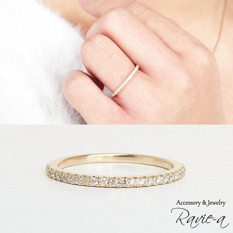 エタニティリング K10 イエローゴールド ダイヤモンド 23石 極細 華奢 重ね付け