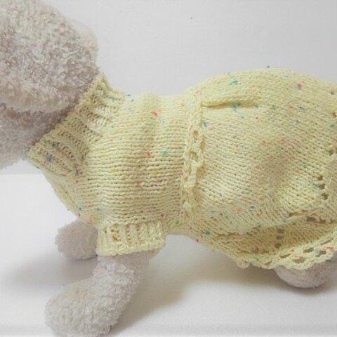 黄色のスラブ糸のドレス風夏セーター(3S-1896)