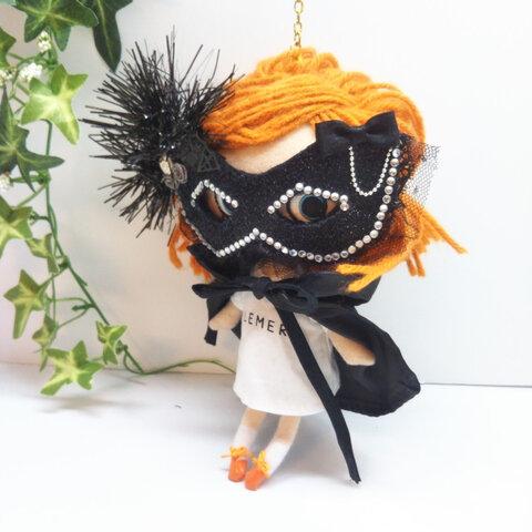 ブラックモールのマスカレードマスク&ドラキュラマント(ショート丈) イーマリーちゃん
