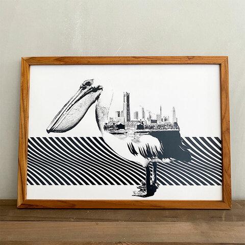「動物街シリーズ」Pelican x Yokohama A3 ポスター & 古材 アートフレーム 玄関 インテリア 玄関飾り