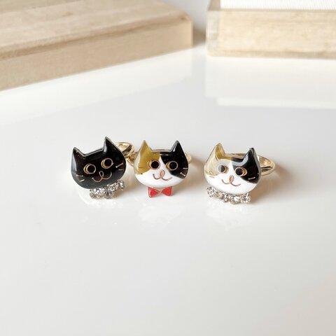 ワガママニャンコ リング 指輪 黒猫 三毛猫