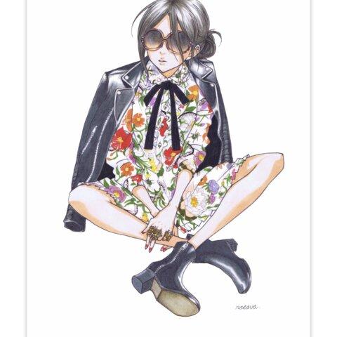 ファッション イラスト ポストカード アート 手描き