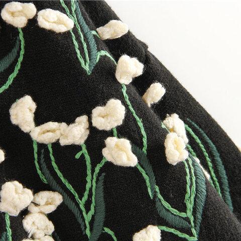 受注制作  美し立体花 手編みセーター