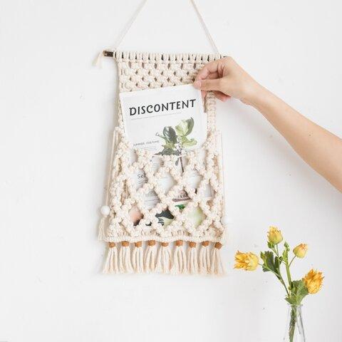 【送料無料】マクラメ編み インテリア タペストリー 壁掛け ポケット 小物入れ ドライフラワー