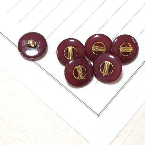 えんじ色 アンティーク風飾りボタン【6個】15㎜