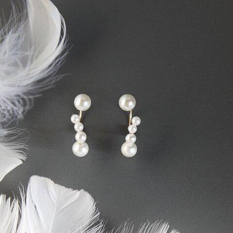 Pearl moon 月の真珠ピアス 3Way 14Kgf