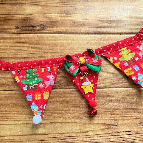 犬・猫の首輪 26~29 cocochanフラッグガーランドチョーカー 赤・クリスマスバージョン