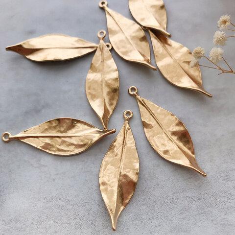 6個【A-48】 リーフパーツ  葉っぱ チャーム leaf