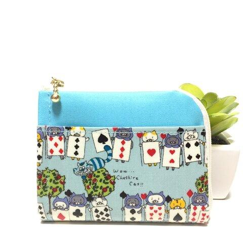 ミニ財布 不思議の国のトランプ猫♡ブルー×サックス