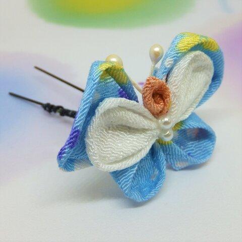 【値下げしました】つまみ細工 蝶のヘアピン GH042
