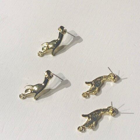 ゴールド ハンド ピアス パーツ 3組6個 12×29mm