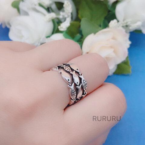 【再販売】可愛い 魚 サカナ 銀 リング 指輪 シンプル 動物 シルバー SV 【H1-1】サイズ変更