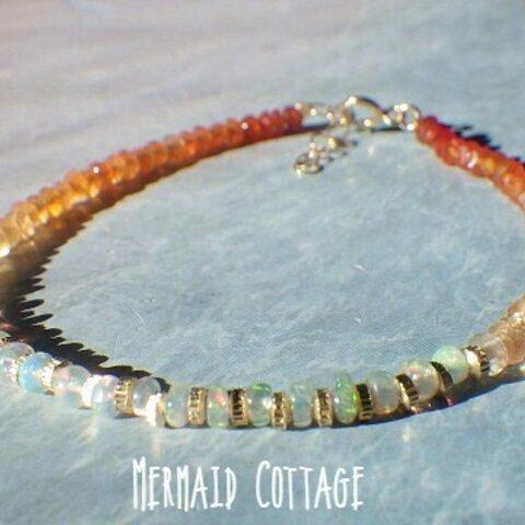 14kgf*Opal Sunset Bracelet オパール&カーネリアン☆アジャスター