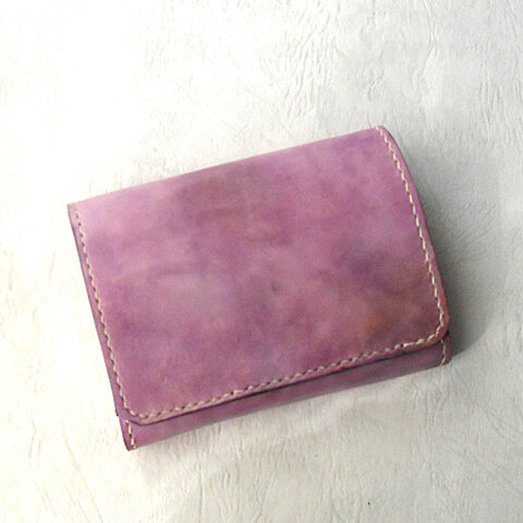 桜アンティーク コンパクト二つ折り財布A  (革 レザー レディース )