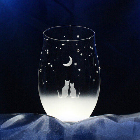 【一緒にみる三日月の夜空】 猫モチーフのタンブラーグラス(vol.1) ★名入れ 加工(有料)対応商品です