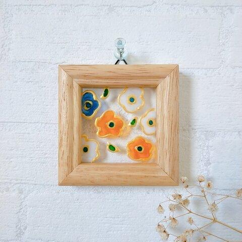 《 はなばな オレンジ  》  ステンドグラス風フレーム