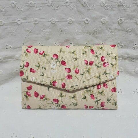 苺柄のじゃばらカードケース、黄色