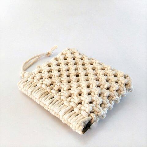 【現品】マクラメ編み ポーチ カードケース コインケース キーケース 小さな財布 ホワイト コットン