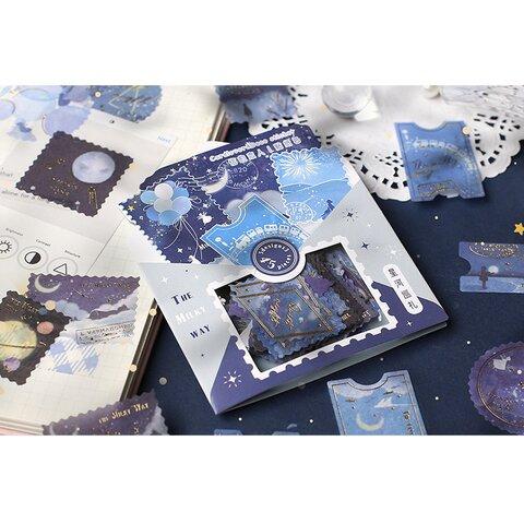箔押しシール 銀河と花火 45枚 切手風 コラージュ 月 nebula