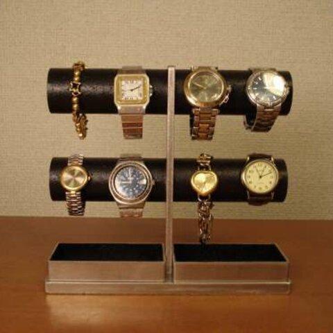腕時計 飾る 8本掛け丸パイプブラック腕時計スタンド ak-design No.11711