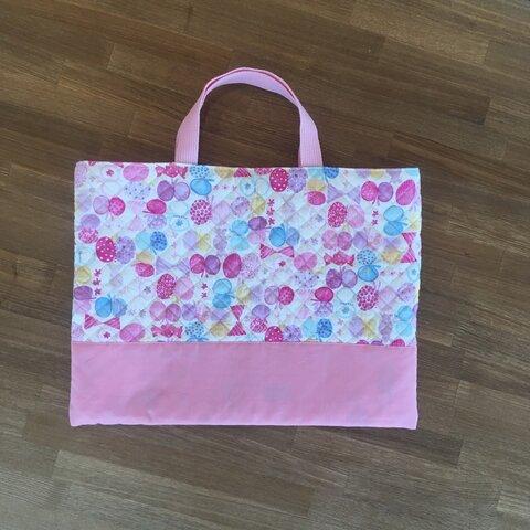 送料込★ピンク(4)ちょうちょ柄のレッスンバッグ ☆習い事バッグ女の子・キルト