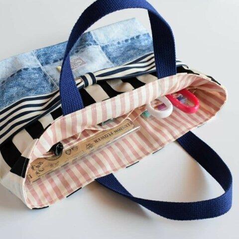 ポケットいっぱいお道具袋♪【wリボン×デニム】小学校入学準備☆