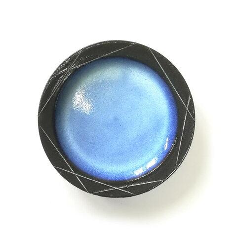 【陶器】リム皿 - 縹 - (中)
