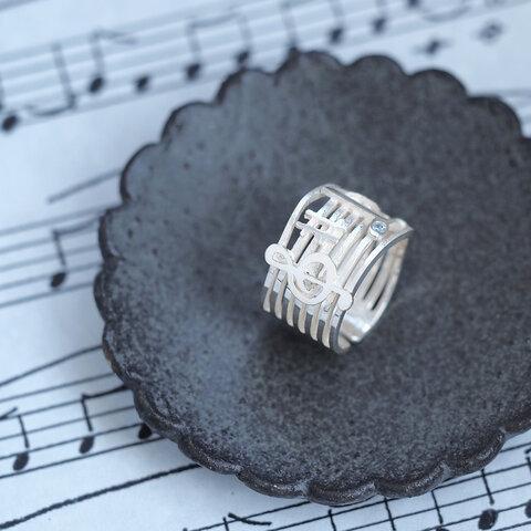 音楽 楽譜 リング シルバー925